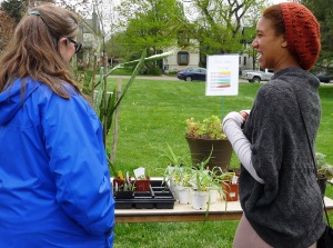 At the houseplant and patio table, Barb Pitner helps a new gardener find the perfect plant.